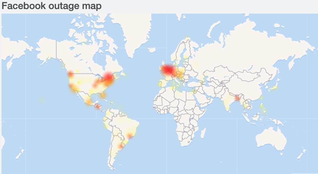 Mapa caida facebook