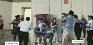 (Video) Pareja agrede a guardias de seguridad por supuesto robo