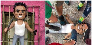 Crean piñata del asaltante de la combi