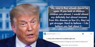 Por desinformar a la población, Facebook borra post de Trump