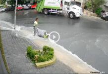 video trabajadores de limpieza basura
